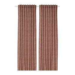 HAKVINGE - Curtains, 1 pair, dark brown-red/leaf patterned
