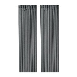 MILDRUN - Curtains, 1 pair, dark grey/striped