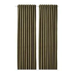 SANELA - Room darkening curtains, 1 pair, olive-green