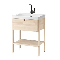 VILTO/ODENSVIK - Meja wastafel dengan 1 laci, kayu birch/Keran LUNDSKÄR, 65x49x86 cm