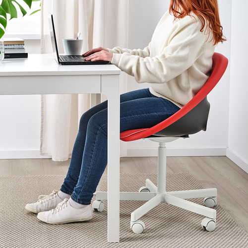 BLYSKÄR/ELDBERGET - kursi putar dengan alas , merah/putih   IKEA Indonesia - PE772628_S4
