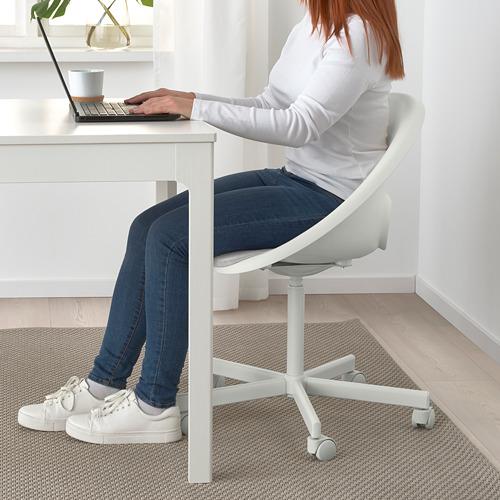 BLYSKÄR/LOBERGET - kursi putar dengan alas , putih/abu-abu muda   IKEA Indonesia - PE772610_S4