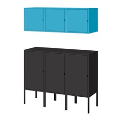 LIXHULT - Kombinasi penyimpanan, antrasit/biru