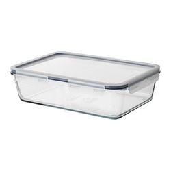 IKEA 365+ - Kotak makan dengan penutup, persegi panjang/kaca plastik