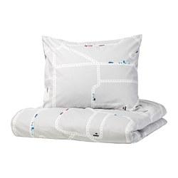 UPPTÅG - Sarung quilt dan sarung bantal, pola mobil/jalan raya/abu-abu