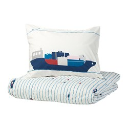 UPPTÅG - Quilt cover and pillowcase, waves/boats pattern/blue