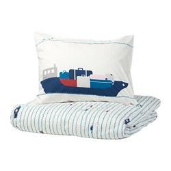 UPPTÅG - Sarung quilt dan sarung bantal, pola ombak/kapal boat/biru