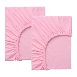 LEN - Fitted sheet for ext bed, set of 2, pink