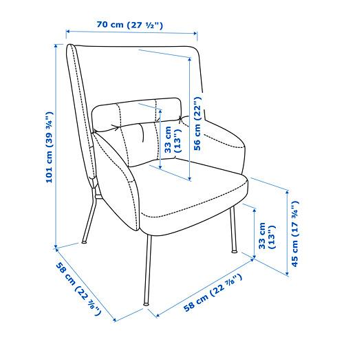 BINGSTA kursi berlengan dg sandaran tinggi