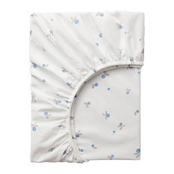 RÖDHAKE - Fitted sheet for cot, white/blueberry patterned