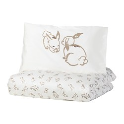 RÖDHAKE - Quilt cover/pillowcase for cot, rabbit pattern/white/beige