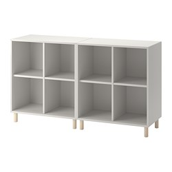 EKET - Cabinet combination with legs, light grey/wood