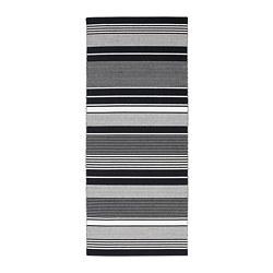 VESLÖS - Karpet, anyaman datar, hitam/putih/garis-garis