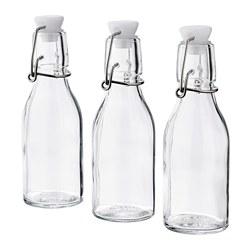 KORKEN - Botol dengan penutup, kaca bening