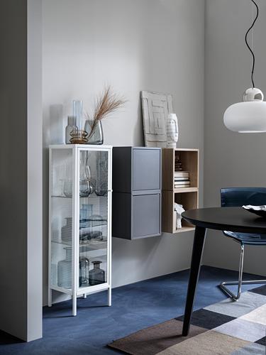 BAGGEBO - kabinet dengan pintu kaca, logam/putih, 34x30x116 cm | IKEA Indonesia - PH178225_S4