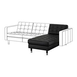 LANDSKRONA - Chaise longue, unit tambahan, Grann/Bomstad hitam/logam