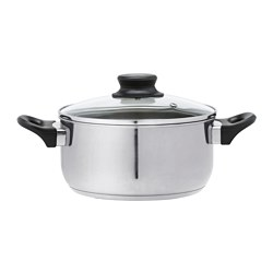 ANNONS - Pot with lid, glass/stainless steel