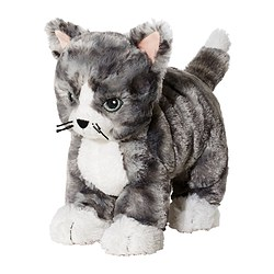 LILLEPLUTT - Soft toy, cat grey/white