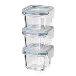 IKEA 365+ - IKEA 365+, food container with lid, square/glass, 180 ml