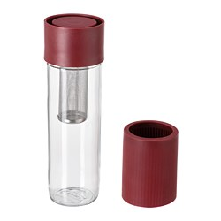 EFTERSTRÄVA - EFTERSTRÄVA, travel mug, clear glass/silicone dark red, 0.5 l