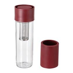 EFTERSTRÄVA - EFTERSTRÄVA, travel mug, kaca bening/silikon merah tua, 0.5 l