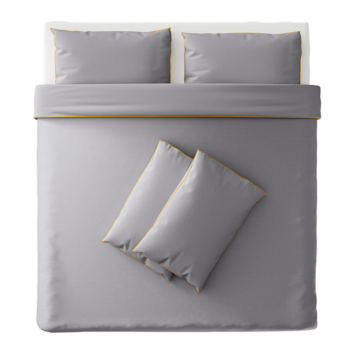 KUNGSBLOMMA sarung quilt dan 4 sarung bantal