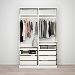 PAX - Lemari pakaian, putih/Nykirke kaca frosted, motif kotak