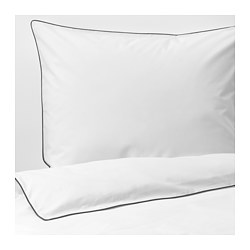 KUNGSBLOMMA - Quilt cover and 2 pillowcases, white/grey