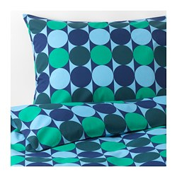 KROKUSLILJA - Quilt cover and 4 pillowcases, blue/green