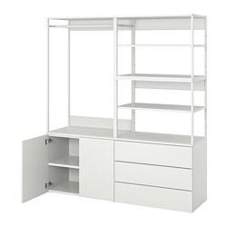 PLATSA - Lemari pakaian 2 pintu+3 laci, putih/Fonnes putih