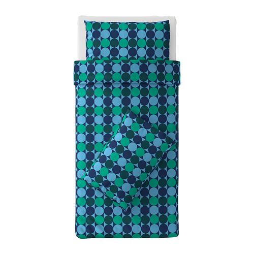 KROKUSLILJA sarung quilt dan 2 sarung bantal