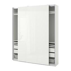 PAX/HASVIK - Kombinasi lemari pakaian, putih/high-gloss putih