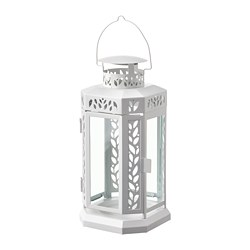 ENRUM - Lantern f block candle, in/outdoor, white