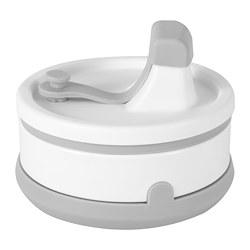 FRUKOSTMÅL - Mug, dapat dilipat, abu-abu/putih, 350 ml
