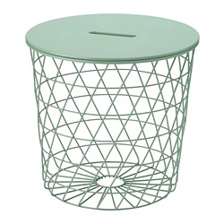 KVISTBRO - Meja penyimpanan, abu-abu hijau muda