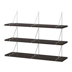 BERGSHULT/PERSHULT - Wall shelf combination, brown-black/white