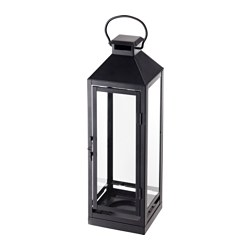 LAGRAD - Lantern f block candle, in/outdoor, black