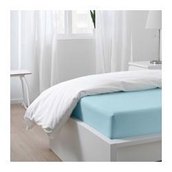 DVALA - Fitted sheet, light blue