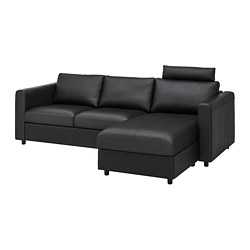 VIMLE - 3-seat sofa, with chaise longue with headrest/Grann/Bomstad black