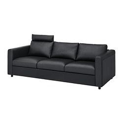 VIMLE - Sofa 3 dudukan, dengan sandaran kepala/Grann/Bomstad hitam