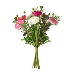 SMYCKA - Bouquet tiruan, Ranunculus merah muda/putih