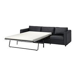 VIMLE - Sofa tempat tidur 3 dudukan, Grann/Bomstad hitam