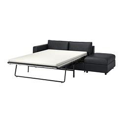 VIMLE - Sofa tempat tidur 3 dudukan, dengan ujung terbuka/Grann/Bomstad hitam