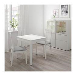 EKEDALEN/EKEDALEN - Meja dan 2 kursi, putih/Orrsta abu-abu muda