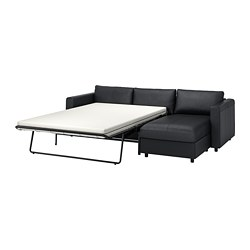 VIMLE - 3-seat sofa-bed, with chaise longue/Grann/Bomstad black