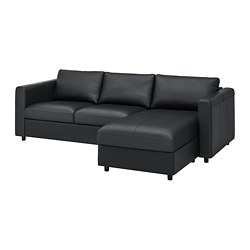 VIMLE - 3-seat sofa, with chaise longue/Grann/Bomstad black