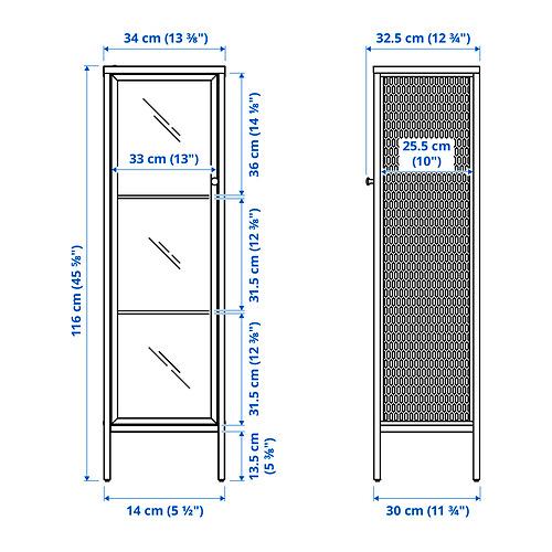 BAGGEBO - kabinet dengan pintu kaca, logam/putih, 34x30x116 cm | IKEA Indonesia - PE830804_S4