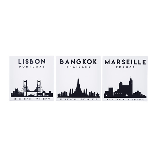 Bangkok Thai Canvas Silhouette Skyline Black White Wall Art Picture Home Decor