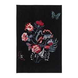 LOVNS - Rug, low pile, black/multicolour
