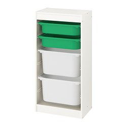 TROFAST - Storage combination with boxes, white/green white
